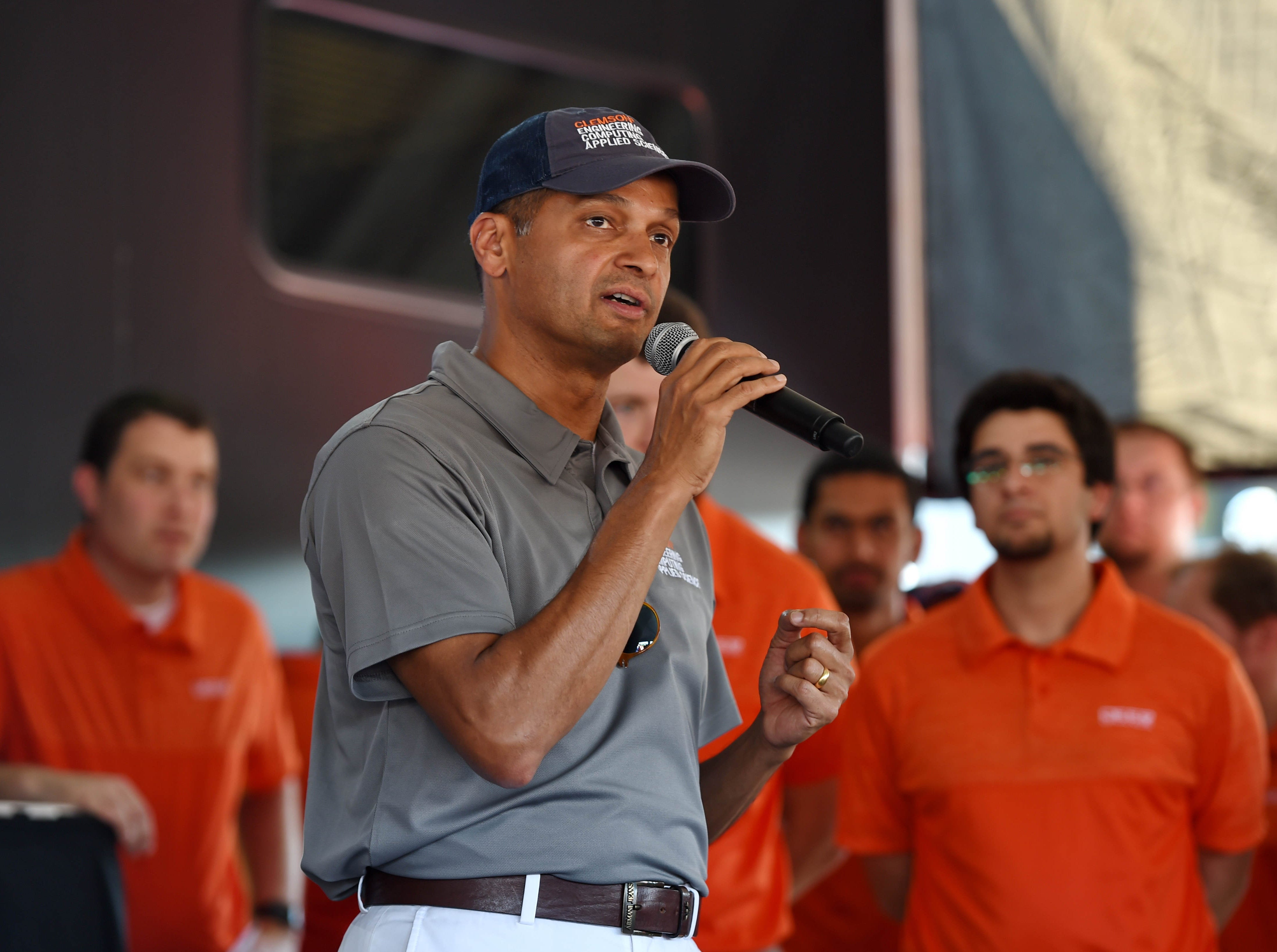 Dr. Anand Gramopadhye speaks to the crowd during the CU-ICAR unveiling of the new Deep Orange 9 rally car Saturday, October 6,  2018.