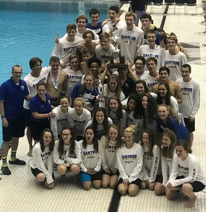 Eastside's boys and girls celebrate Class AAAA championships following Friday's state meet at the USC Natatorium in Columbia.