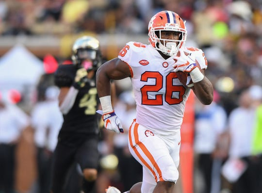 Clemson running back Adam Choice (26) races 64 yards to score against Wake Forest during the 3rd quarter at BB&T Field in Winston Salem, N.C. Saturday, October 6, 2018.