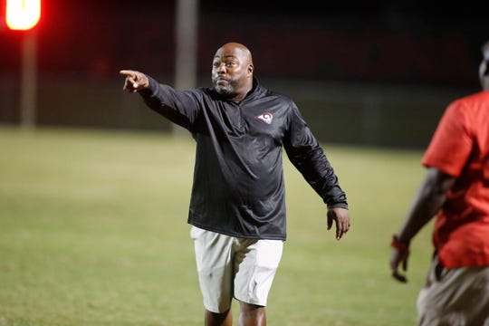 Hillcrest head coach Greg Porter objects to a call. Hillcrest hosts Riverside on Friday, October 5, 2018 at Hillcrest's Chandler Stadium.