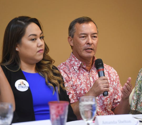 """In this file photo, then senatorial candidate and now Sen. James C. Moylan, R-Tumon, discusses the gender wage gap during an American Association of University Women """"Meet the Candidates Forum on Women's Issues"""" at the Hilton Guam Resort and Spa on Oct. 6, 2018. Also in photo is now Sen. Amanda Shelton."""