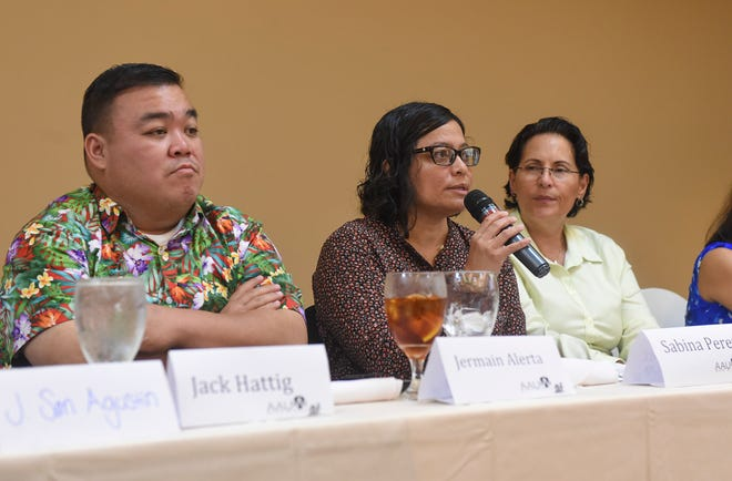"""Senatorial candidate Sabina Perez discusses the gender wage gap during an American Association of University Women """"Meet the Candidates Forum on Women's Issues"""" at the Hilton Guam Resort and Spa on Oct. 6, 2018."""