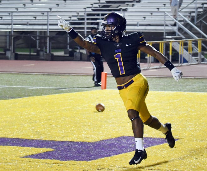 Hattiesburg High's Darius Ruffin celebrates after a touchdown in their homecoming game against Pearl River Central on Friday, October 5, 2018.