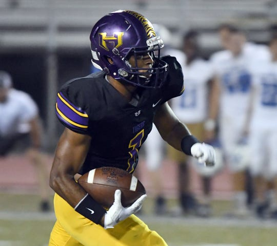 Hattiesburg High's Darius Ruffin runs the ball down the field in their homecoming game against Pearl River Central on Friday, October 5, 2018.
