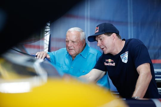 Legendary race car driver and the Grand Marshal of the Indianapolis Red Bull Air Race, A.J. Foyt, left, meets fellow Texan and Master Class pilot, Kirby Chambliss, before qualifying for the Red Bull Air Race at the Indianapolis Motor Speedway, on Saturday, Oct. 6, 2018.