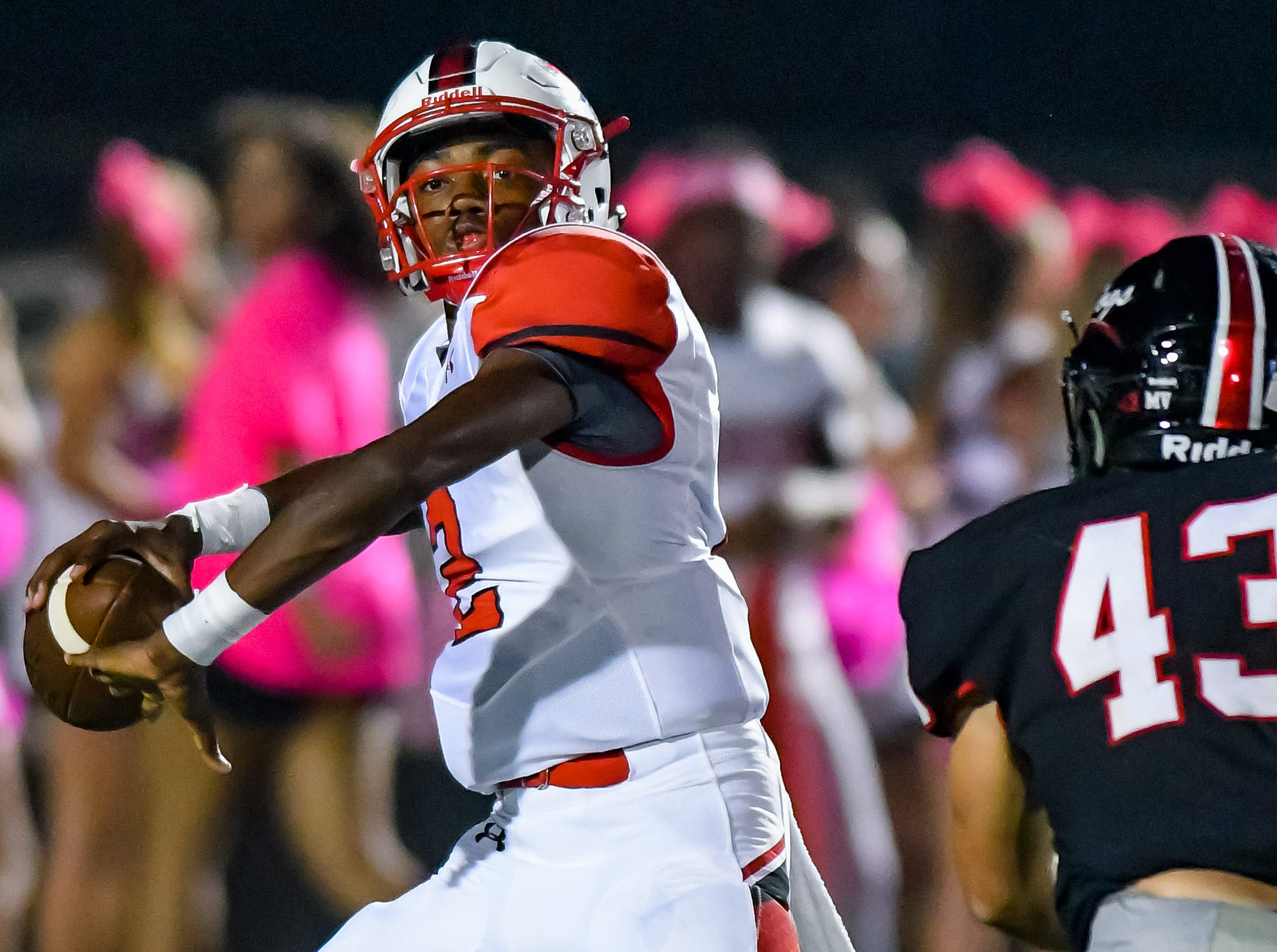 Petal quarterback Decarlos Nicholson (2) looks to pass during game action held Friday October 5, 2018 in Brandon, Mississippi.(Photo/Bob Smith-For the Clarion Ledger)