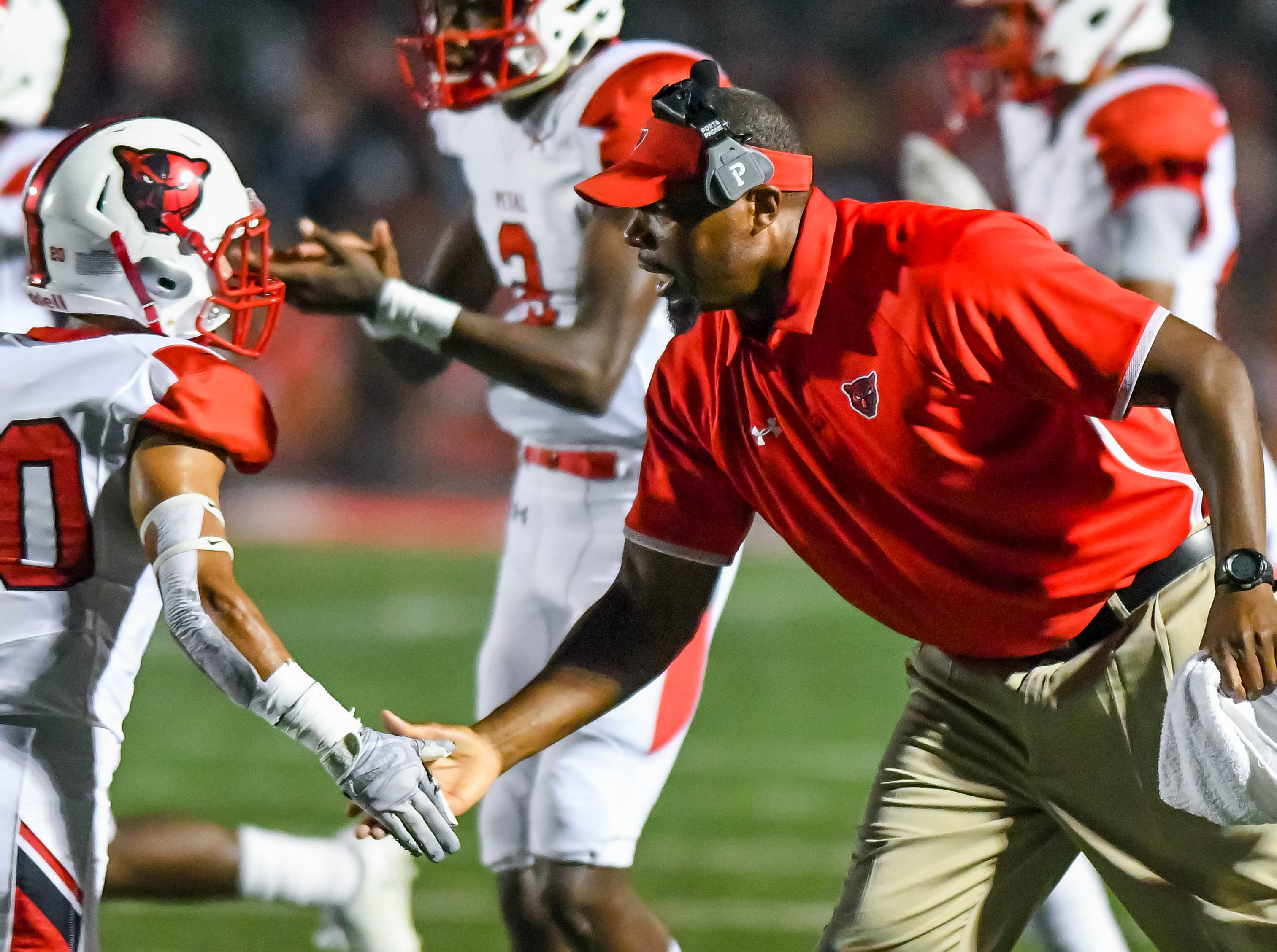 Petal coaches encourage their defense following a stop during game action held Friday October 5, 2018 in Brandon, Mississippi.(Photo/Bob Smith-For the Clarion Ledger)