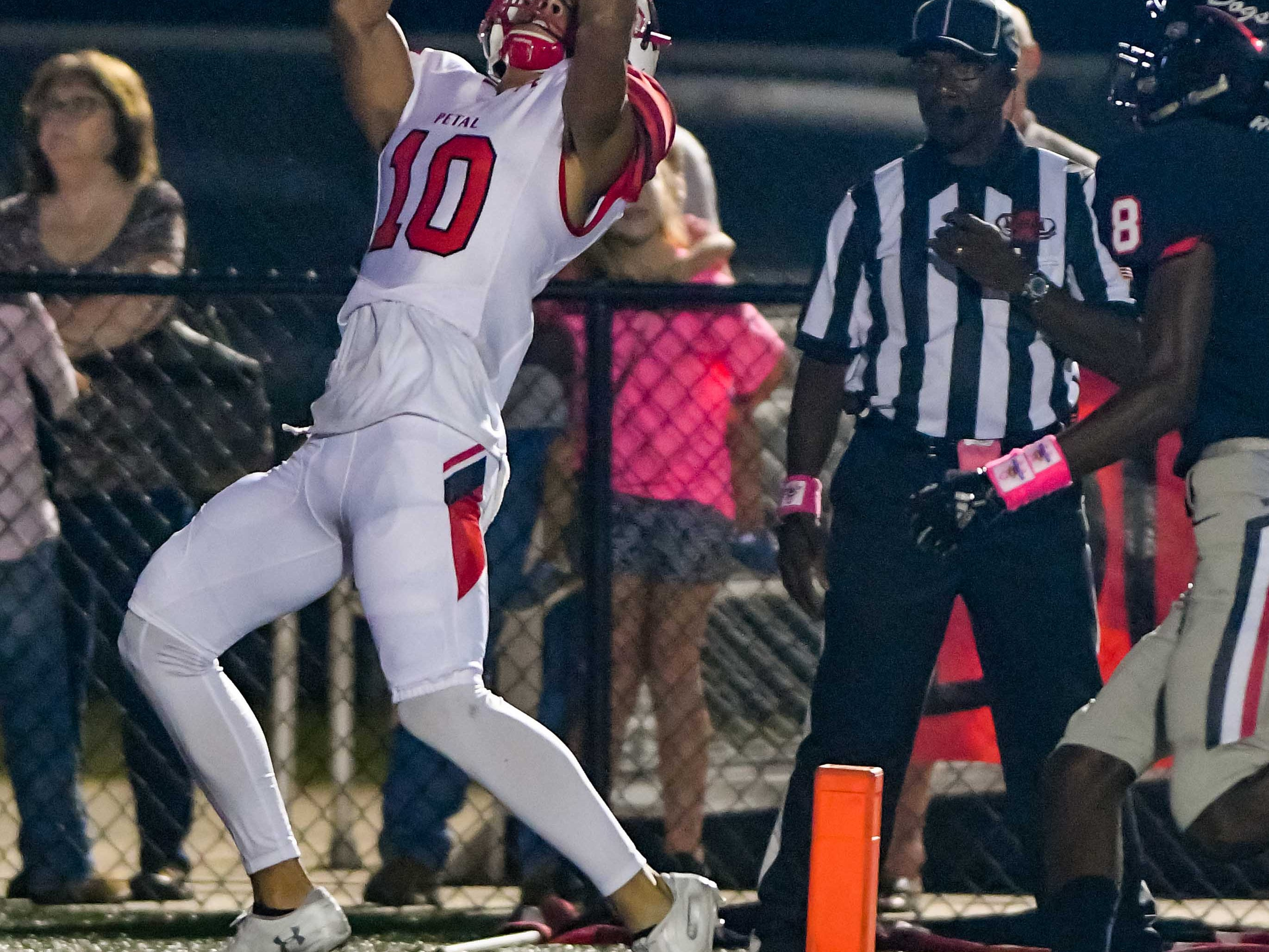 Petal receiver Trent Williams (10) hauls in a first quarter touchdown pass against Brandon during game action held Friday October 5, 2018 in Brandon, Mississippi.(Photo/Bob Smith-For the Clarion Ledger)