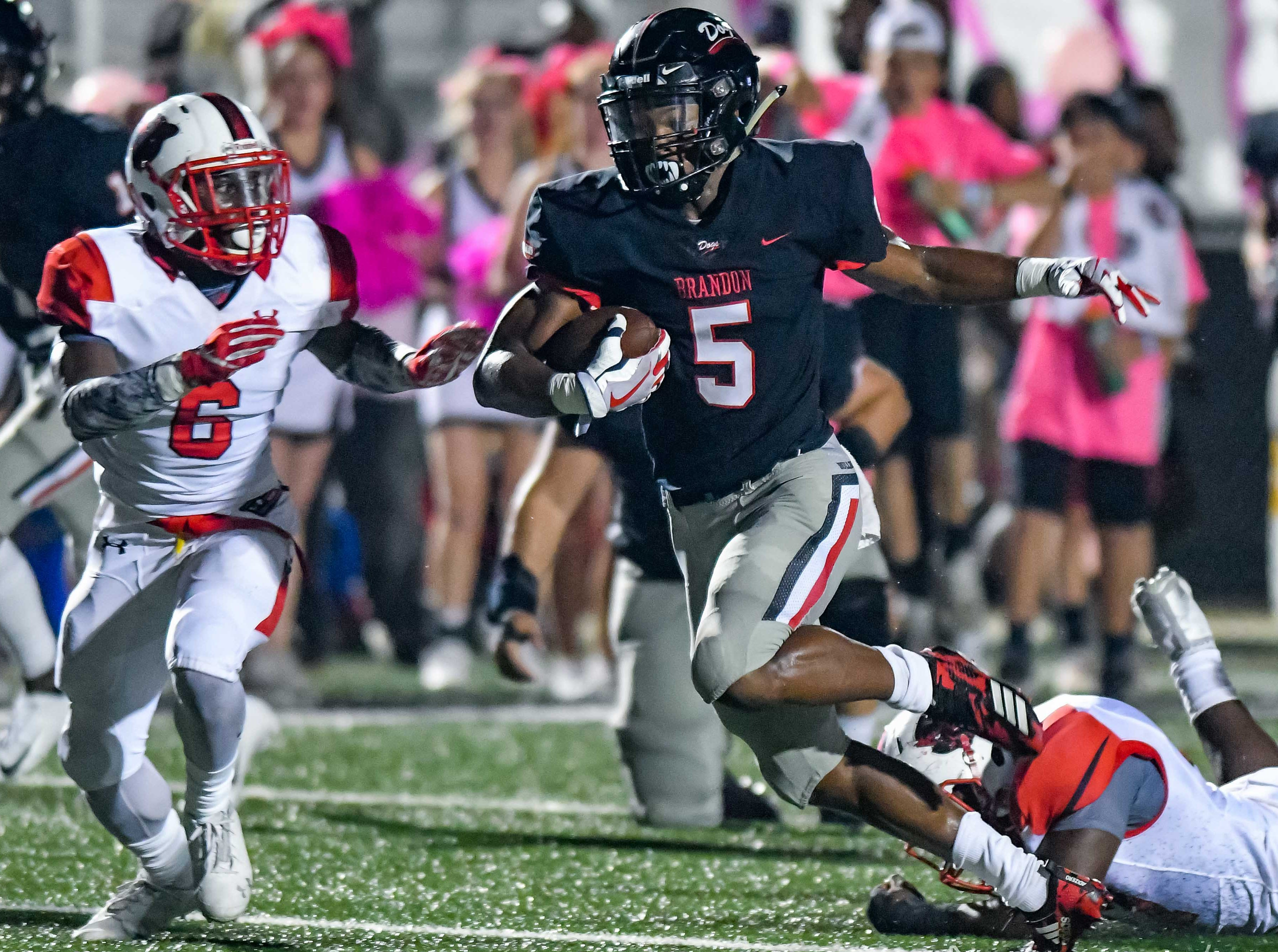 Brandon's Darius Moore (5) runs the ball after a catch against Petal during game action held Friday October 5, 2018 in Brandon, Mississippi.(Photo/Bob Smith-For the Clarion Ledger)