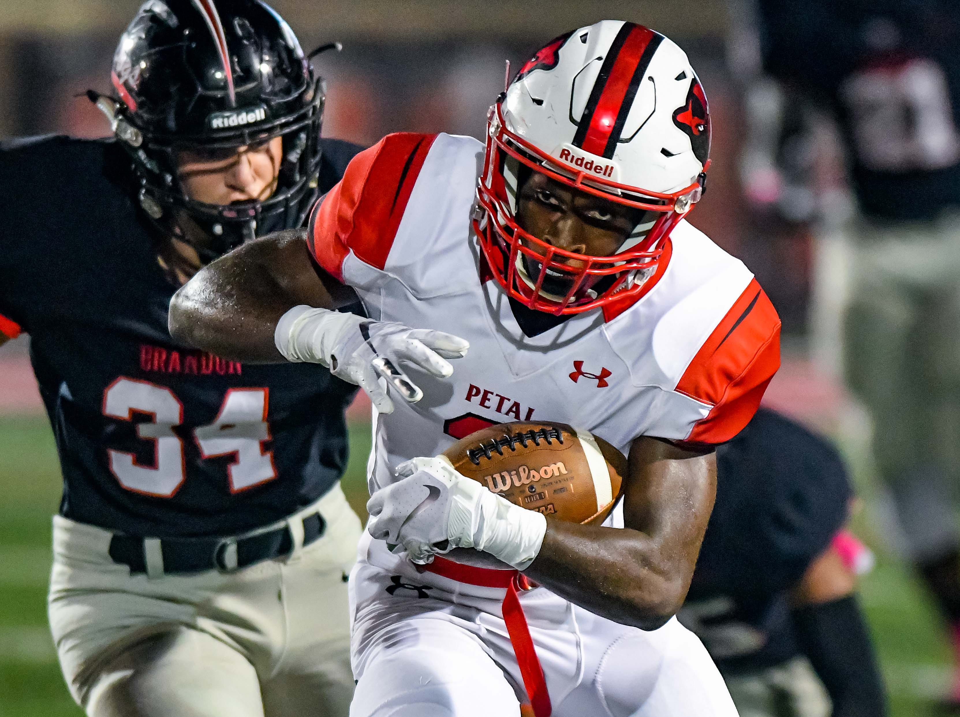 Petal receiver Jeremiah Robinson (3) runs the ball after a catch  during game action held Friday October 5, 2018 in Brandon, Mississippi.(Photo/Bob Smith-For the Clarion Ledger)