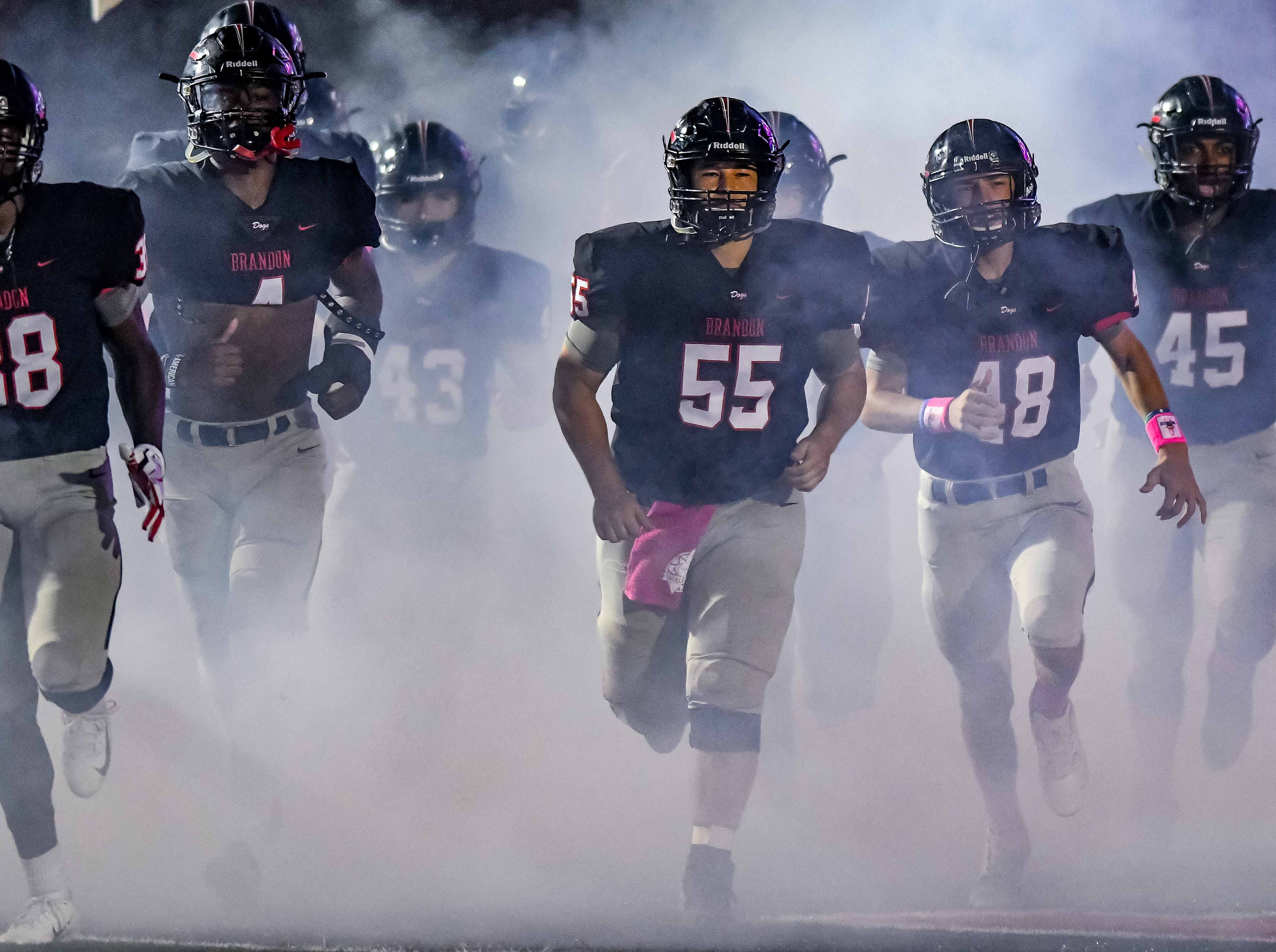 Brandon players hit the field before their game against Petal during game action held Friday October 5, 2018 in Brandon, Mississippi.(Photo/Bob Smith-For the Clarion Ledger)