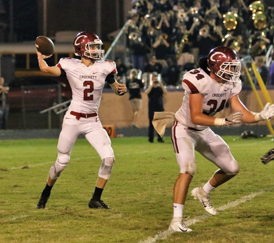 Crockett County's Luke Pratt (2) attempts a pass on October 5, 2018.