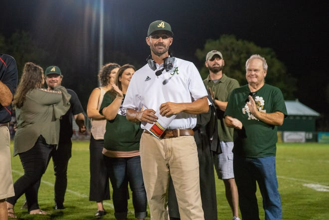 Acadiana High coach Matt McCullough, shown here during last week's Ted Davidson field dedication, is hoping to lead his Wreckin' Rams to a rebound win over Sam Houston on Friday.