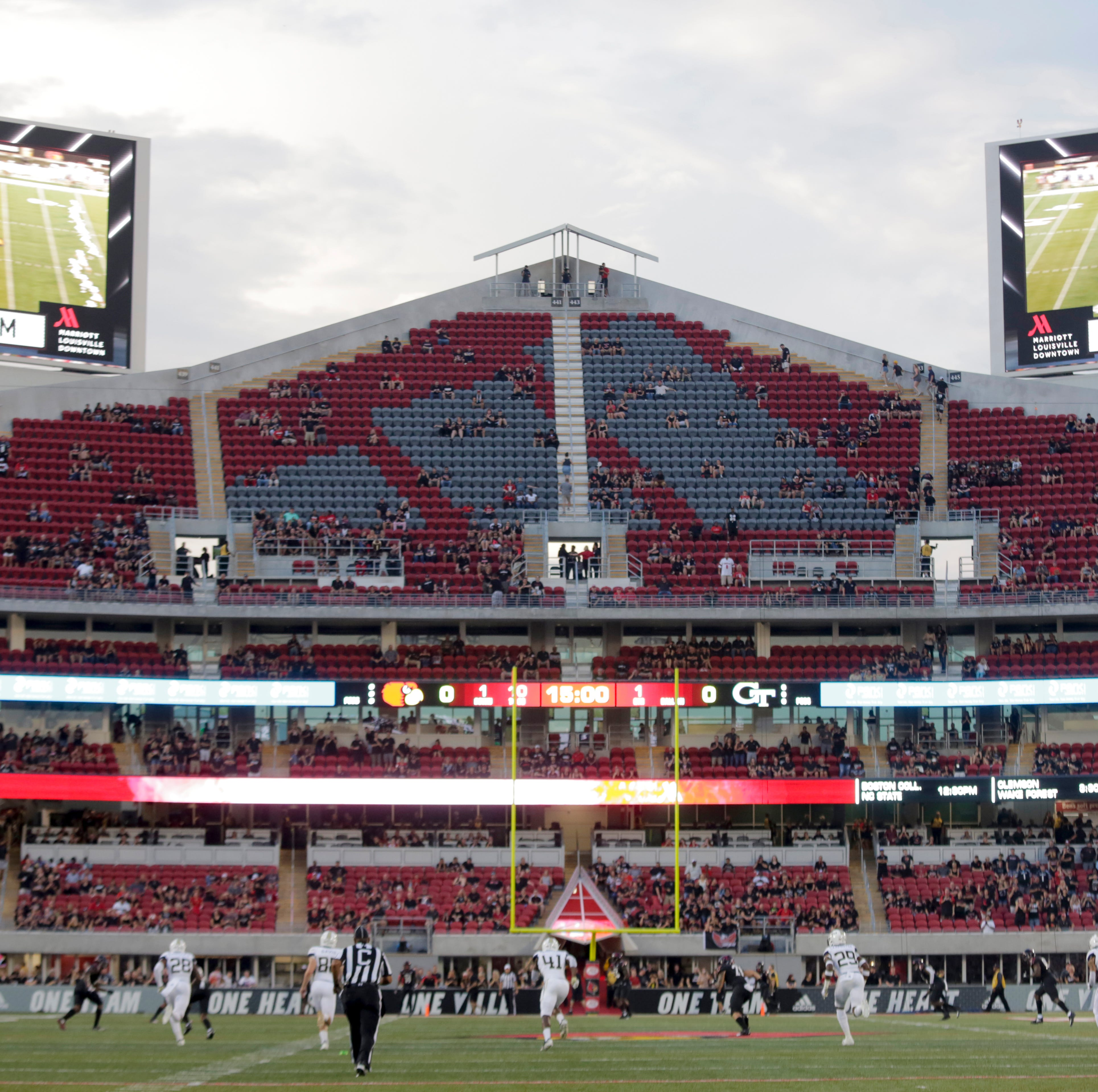 The expansion section of Cardinal Stadium at kickoff.  Oct. 5, 2018