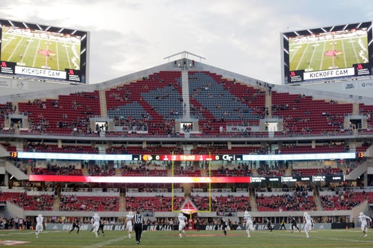 The expansion section of Cardinal Stadium features an Adidas logo painted into the seats.