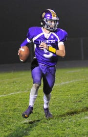 Lexington's Jake Depperschmidt runs down the field while playing against West Holmes on Friday night.