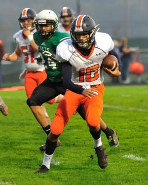 Galion's Elias Middleton runs with the ball while playing at Clear Fork earlier in the season.