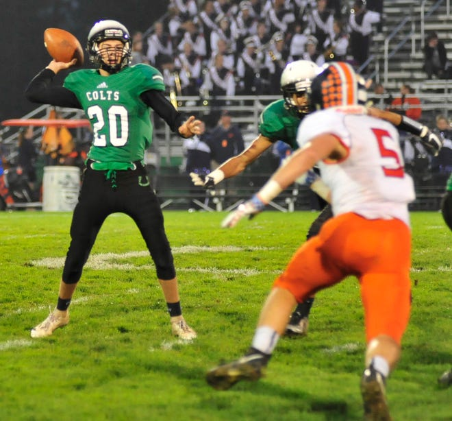 Clear Fork's Brennan South looks for an opening to pass the ball while playing against Galion in Week 7.