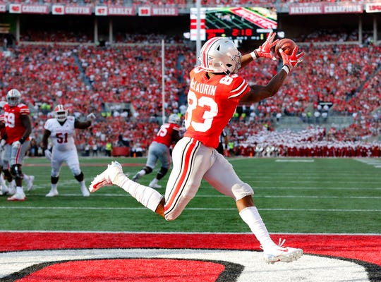 Ohio State's Terry McLaurin catches a touchdown pass in the second quarter Saturday against Indiana.