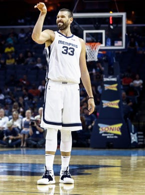 Memphis Grizzlies center Marc Gasol during first quarter action Atlanta Hawks at the FedExForum in Memphis, Tenn., Friday, October 5, 2018.