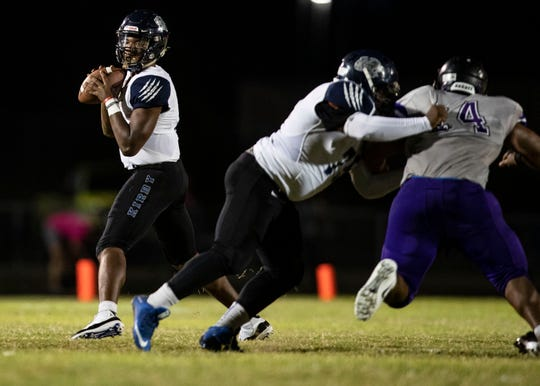Kirby QB Jaden Johnson looks for an open receiver to complete  a pass downfield  during the first quarter against Southwind School  Friday October 5, 2018.  Friday October 5, 2018.