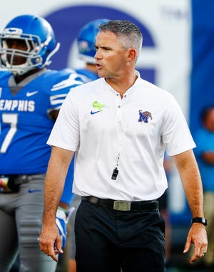 Memphis head coach Mike Norvell pregame warmup before taking on UConn in Memphis, Tenn., Saturday, October 6, 2018.