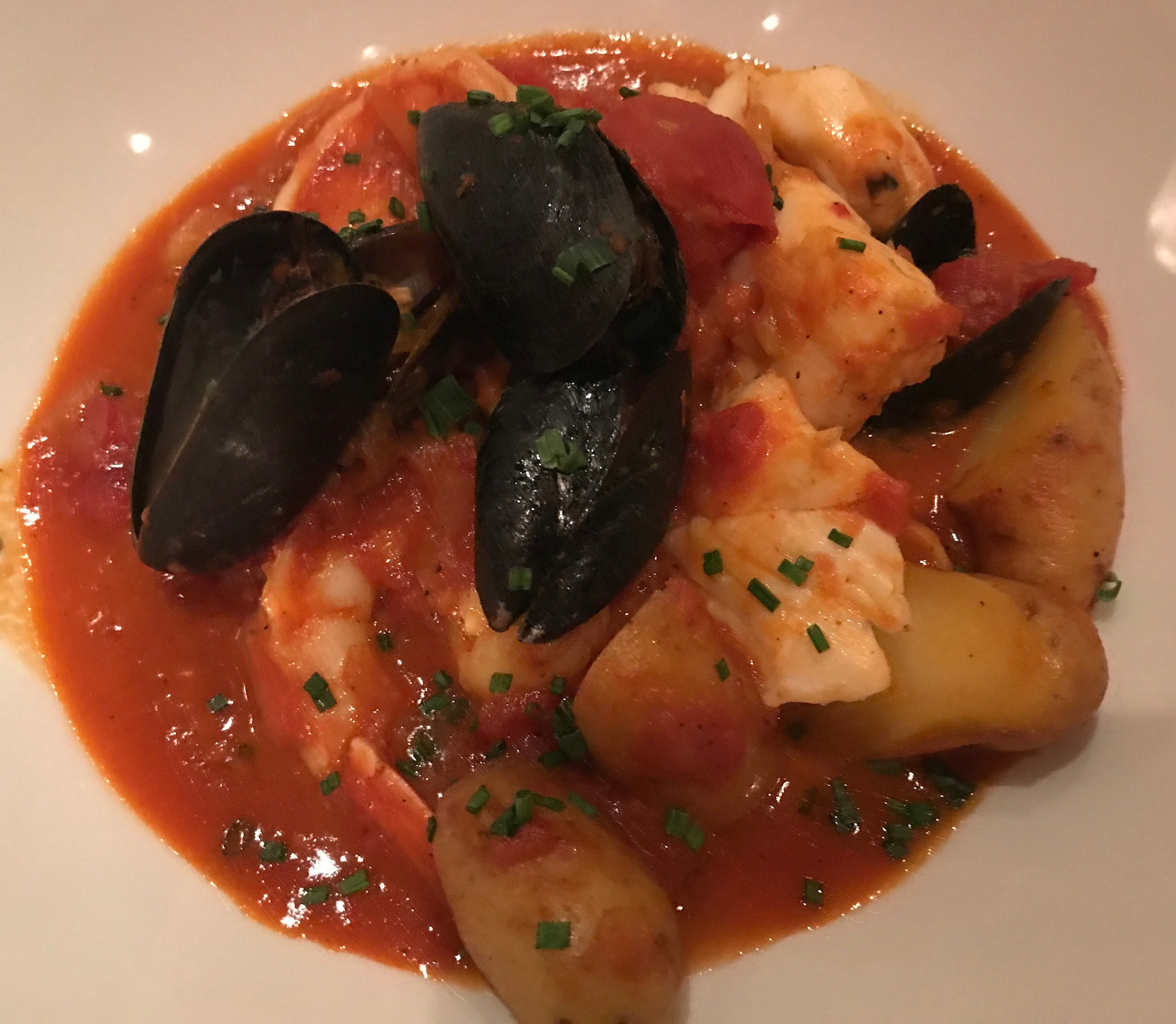 Pastiche at Hotel Metro, 411 E. Mason St., added Midwestern flavor by way of walleye to the classic French fish stew bouillabaisse, a dinner special.