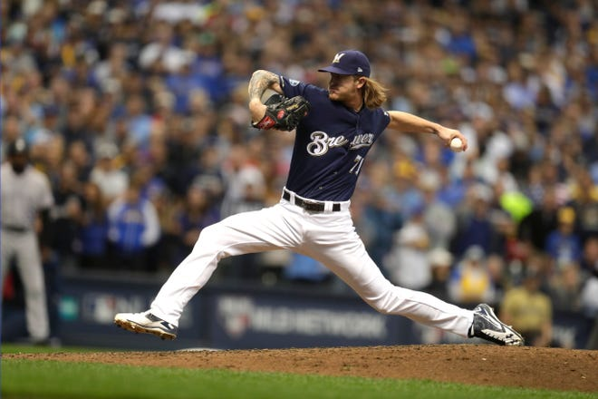 Josh Hader slings the ball with a deceptive, whip-like delivery that makes it difficult to pick up his fastball until it's on the hitter.