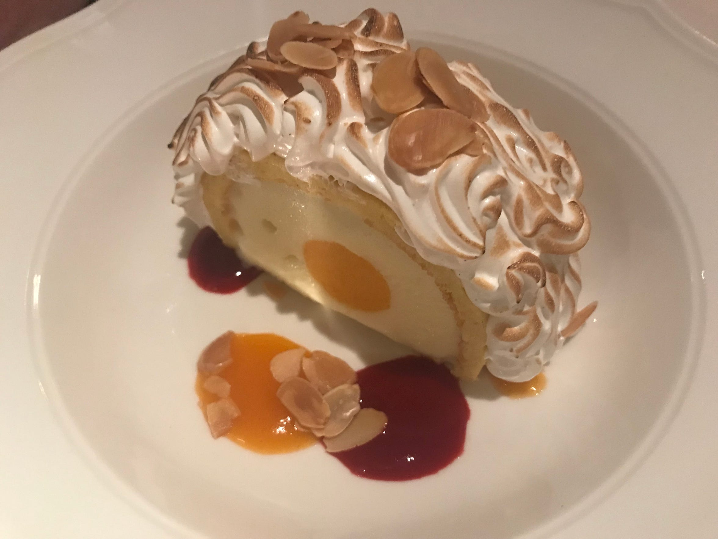 A summertime dessert at Lake Park Bistro, 3133 E. Newberry Blvd., was baked Alaska, with apricot sorbet at the center of almond ice cream.