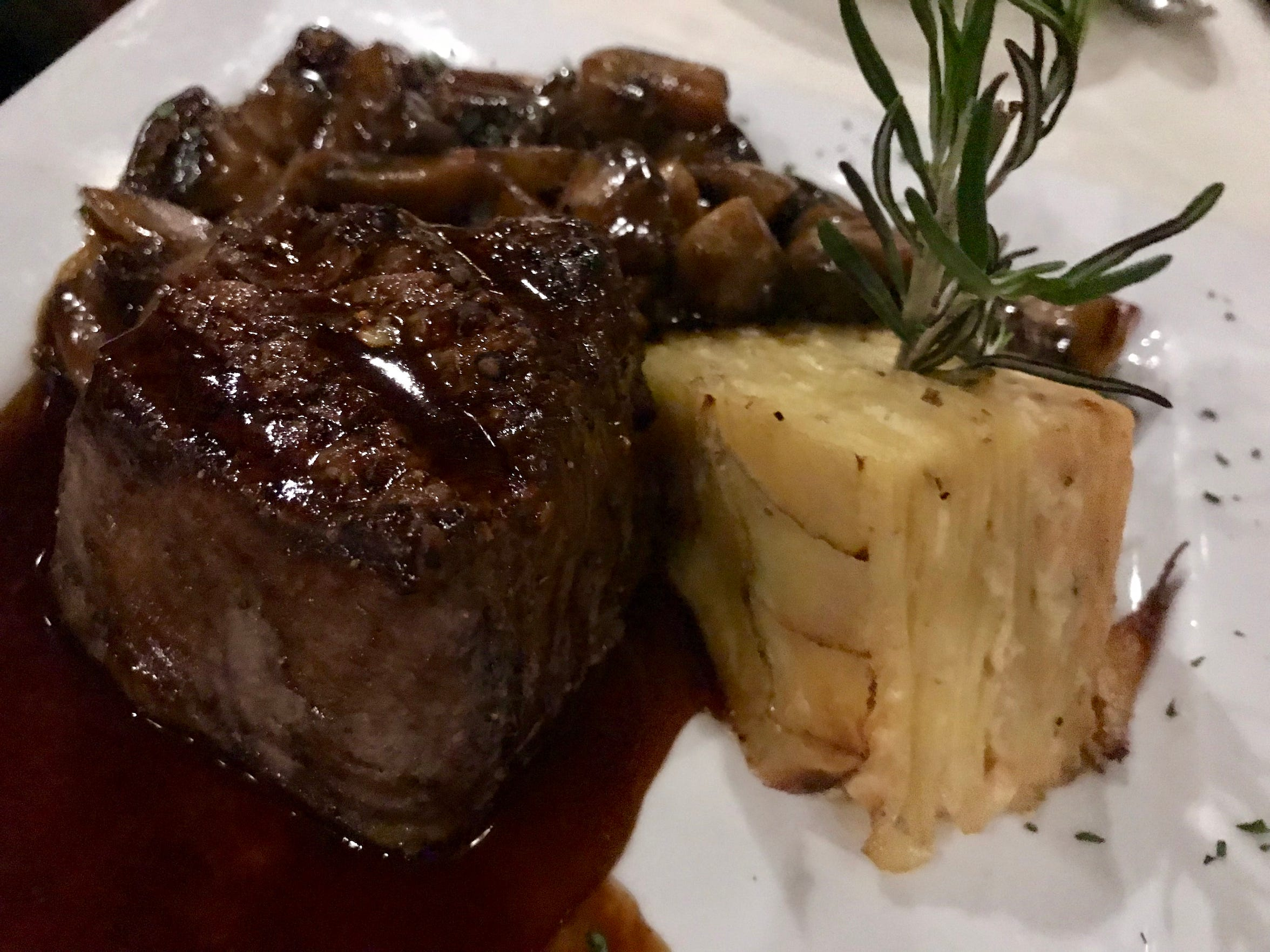Filet of beef is served with red wine sauce and dauphinoise potatoes (plus optional mushrooms) at the Union House, S42-W31320 Highway 83 in Genesee Depot.