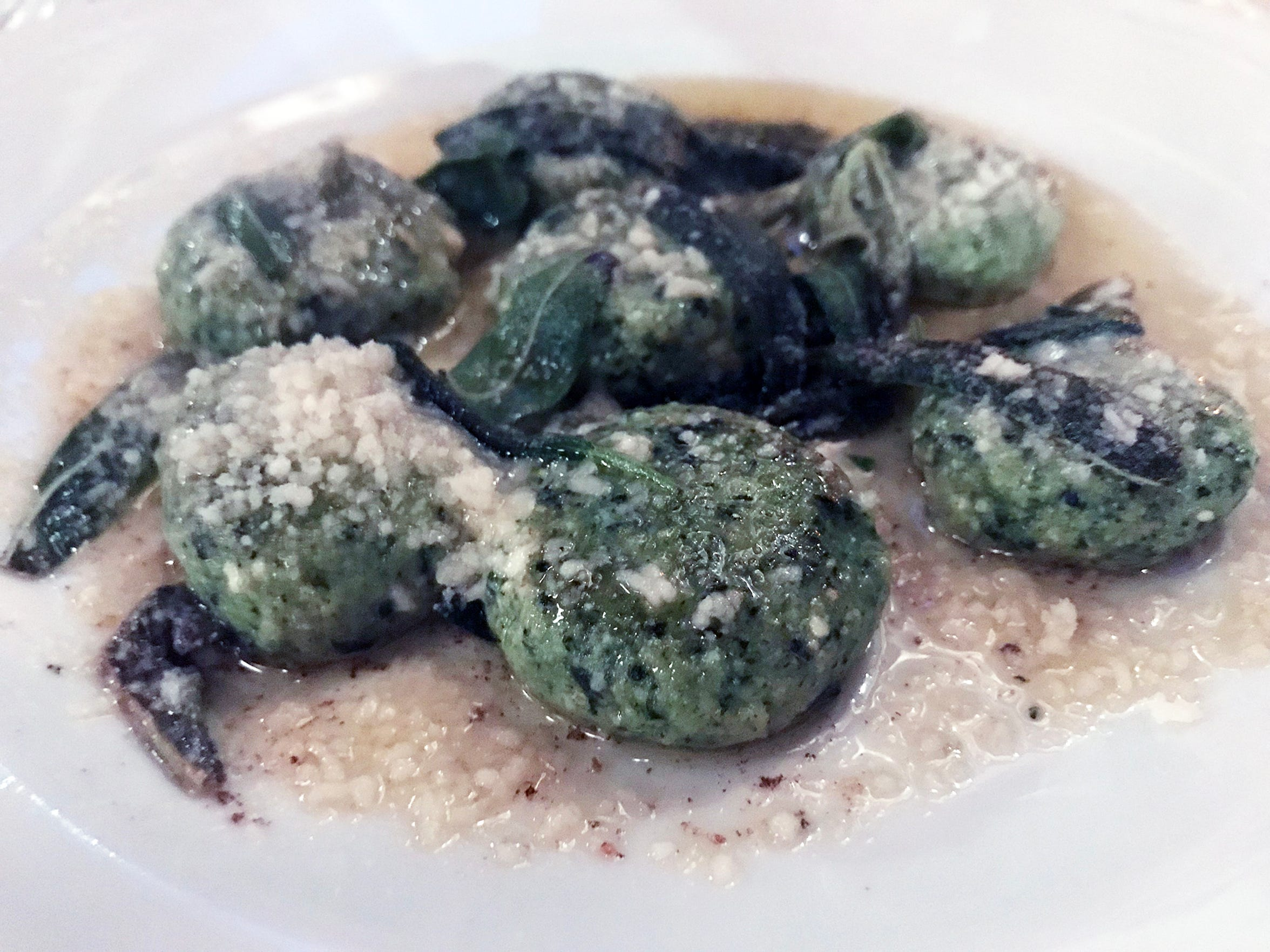 Spinach-ricotta gnudi with sage, butter and cheese was among new dishes at Ristorante Bartolotta, the Italian restaurant at 7616 W. State St., Wauwatosa. The restaurant, which turned 25 this year, refreshed its menu and interior to mark the milestone.