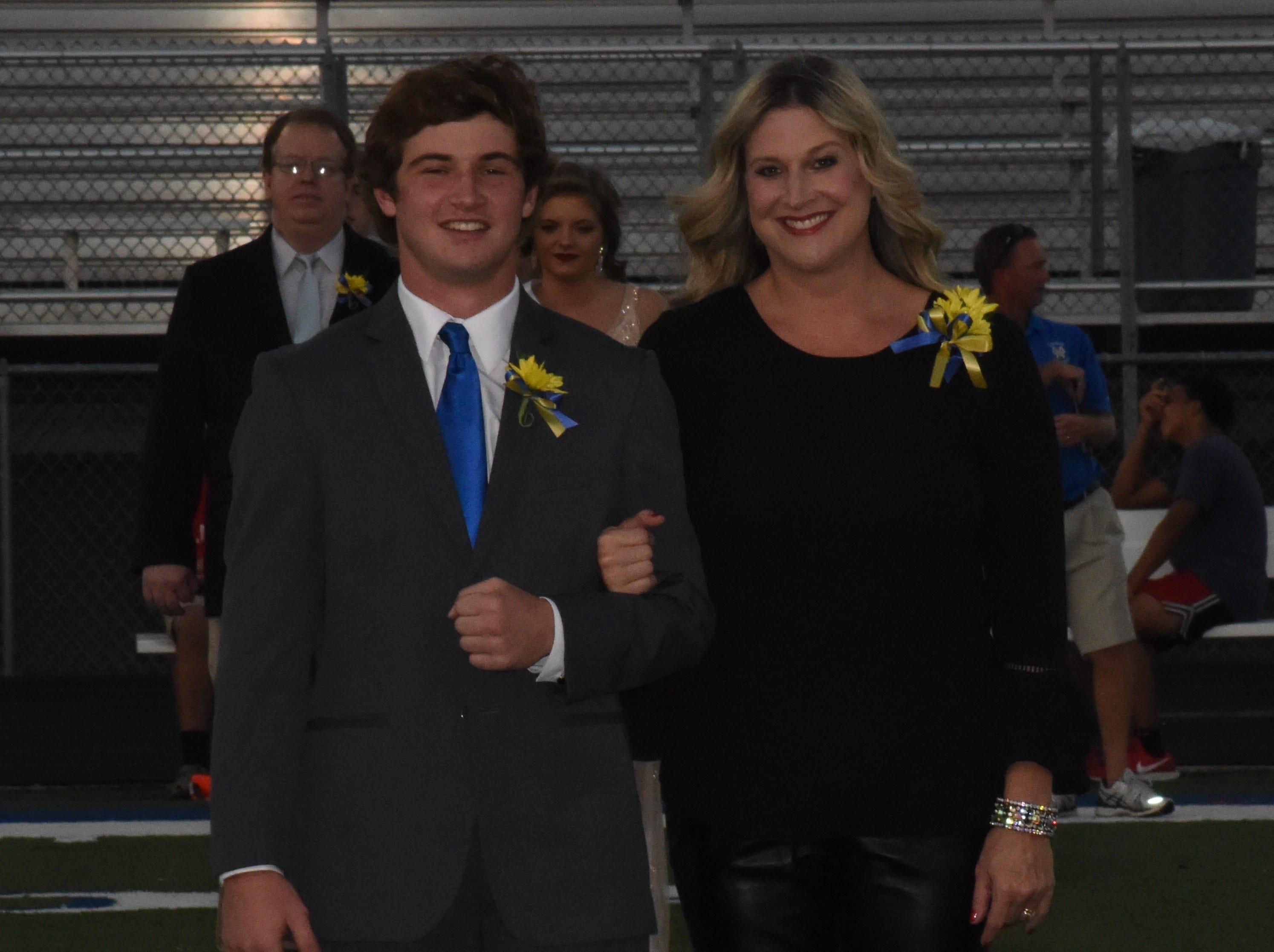 Senior knight Luke Jackson and his mother, LeeAnne Jackson.