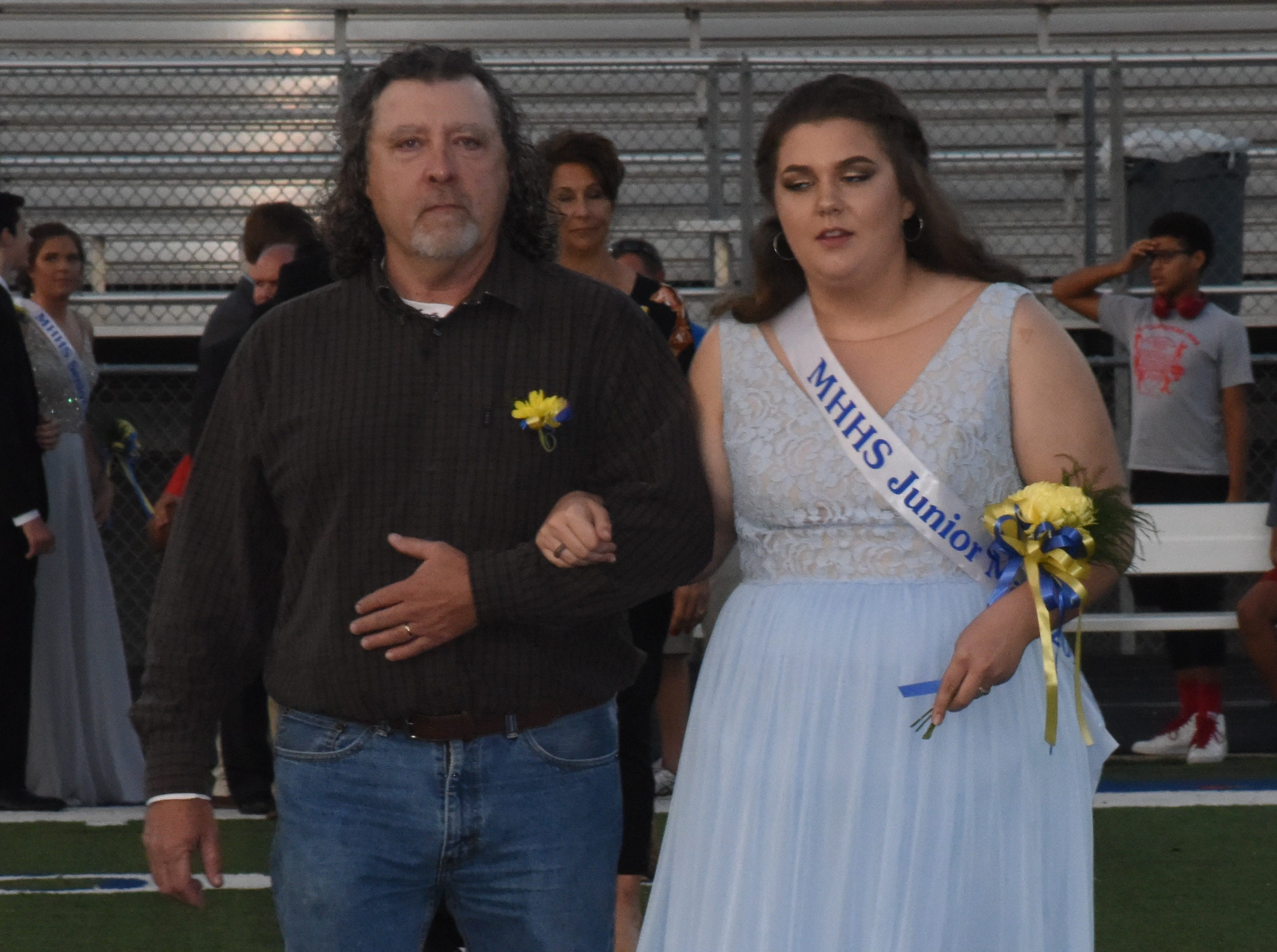 Junior maid Piper Hill and her father, Wayne Hill.