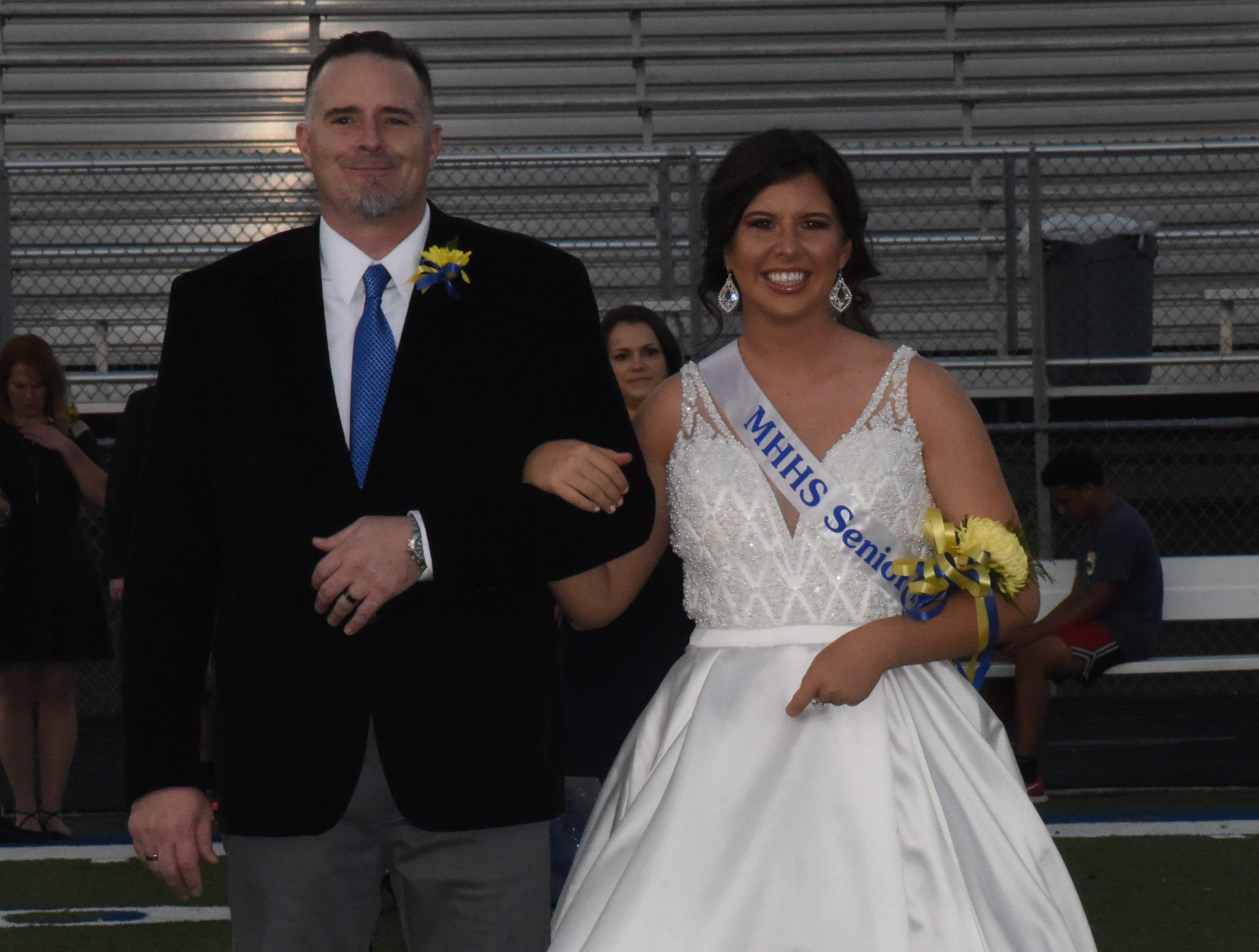 Senior maid Kelsey Pinn and her father, Jody Pinn.