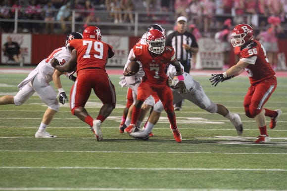 Ruston quaterback Eric Outley (7) ran for a 26-yards touchdown late in the fourth quarter of the Bearcats' 23-20 win at Ouachita last week. Ruston travels to 6-1 Alexandria on Friday night.