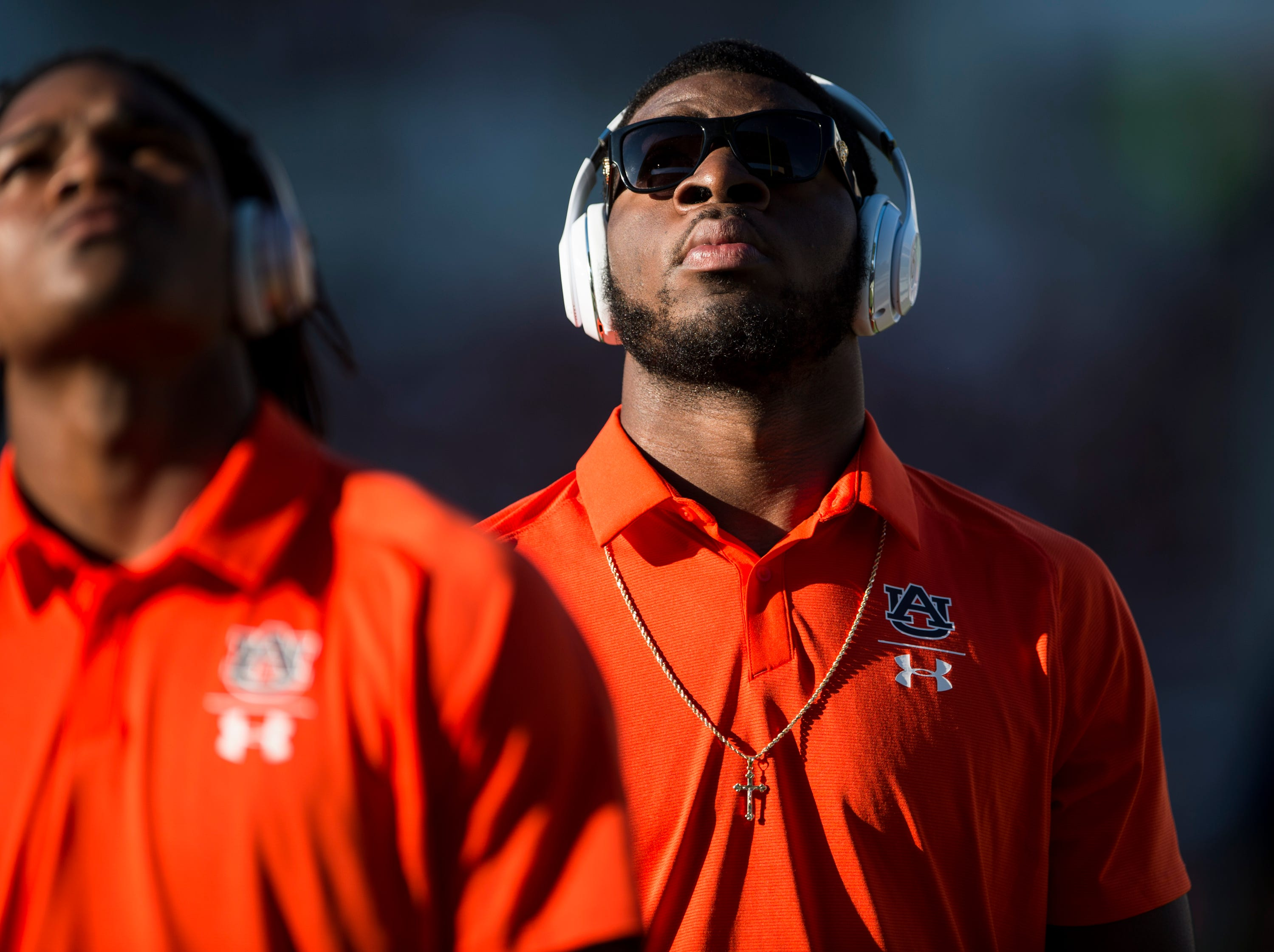 Auburn's Big Kat Bryant (1) watches the big screen as his team leaves the field at Davis Wade Stadium in Starkville, Miss., on Saturday, Oct. 6, 2018.