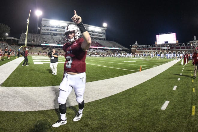 Troy Trojans quarterback Sawyer Smith (3) celebrates a Troy win against Georgia State at Veteran's Memorial Stadium in Troy, Ala., on Thursday, Oct. 4, 2018. (Chip Dillard/Special to the Montgomery Advertiser)
