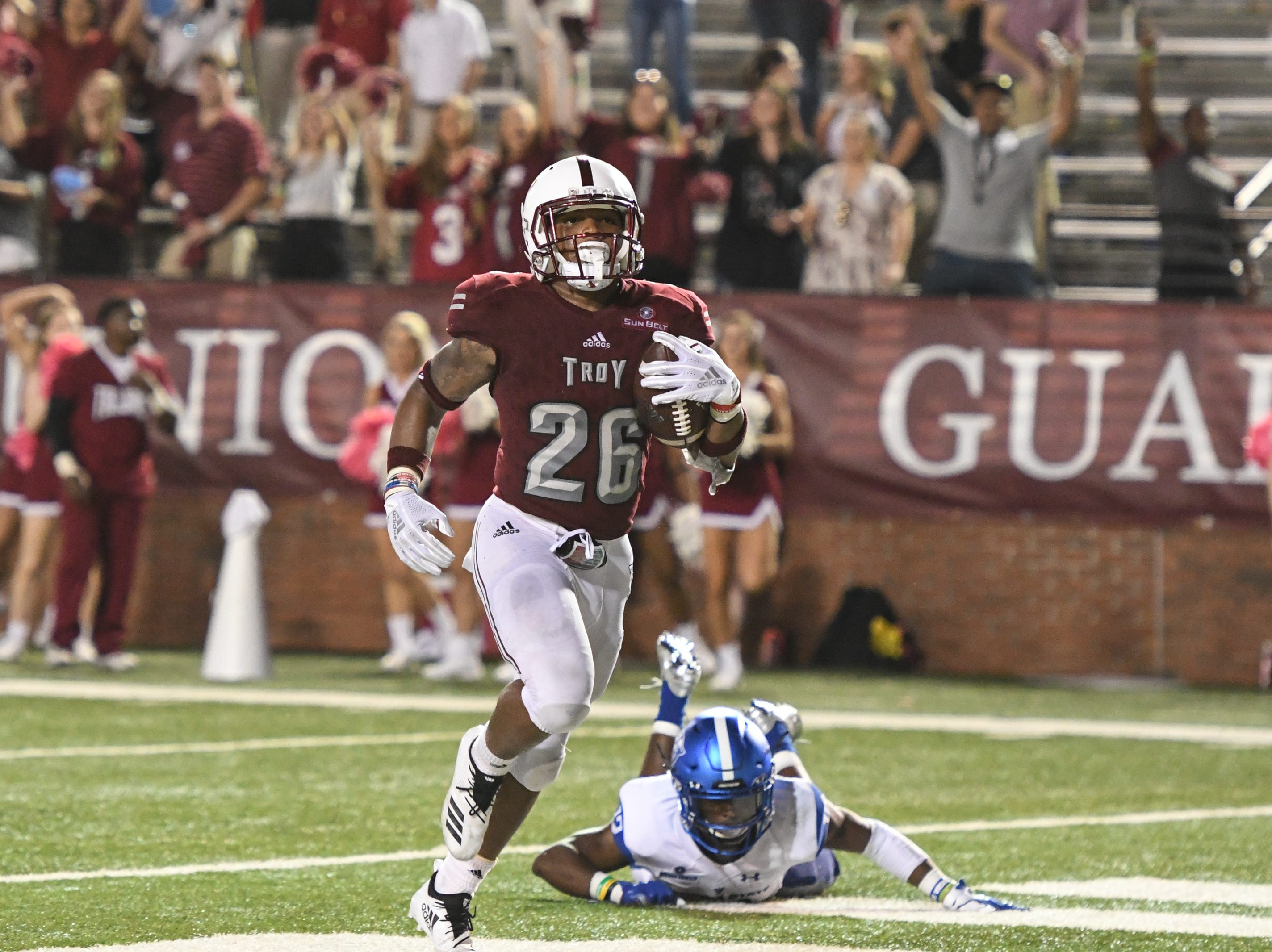 Troy Trojans running back B.J. Smith (26) runs into the end zone for a touchdown during the second half against Georgia State at Veteran's Memorial Stadium in Troy, Ala., on Thursday, Oct. 4, 2018. (Chip Dillard/Special to the Montgomery Advertiser)