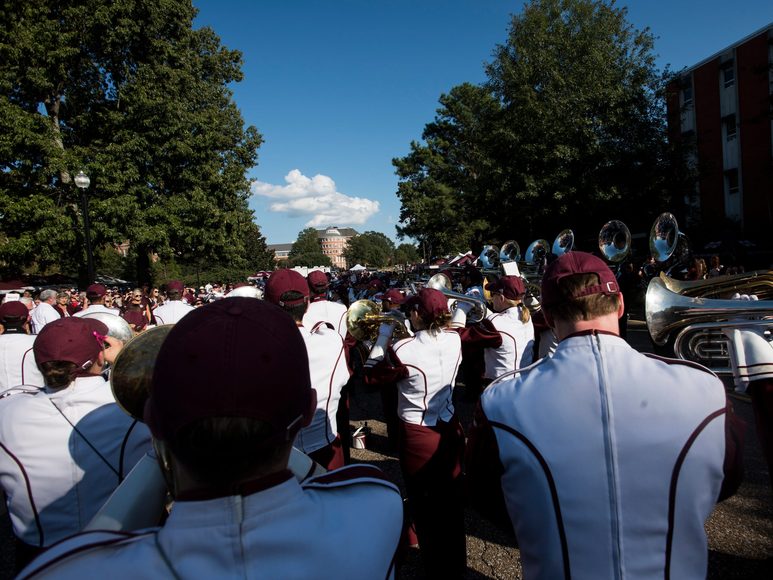 Mississippi State's band warms up before the Dawg Walk outside Davis Wade Stadium in Starkville, Miss., on Saturday, Oct. 6, 2018.