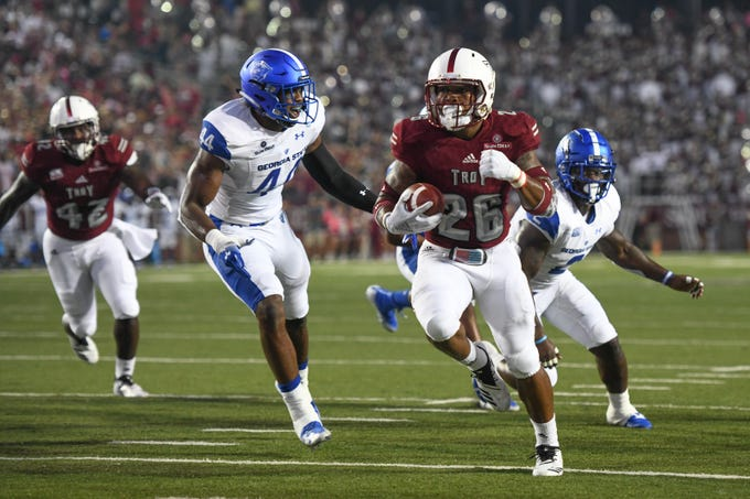 Troy Trojans running back B.J. Smith (26) runs into the end zone for a touchdown against Georgia State at Veteran's Memorial Stadium in Troy, Ala., on Thursday, Oct. 4, 2018. (Chip Dillard/Special to the Montgomery Advertiser)
