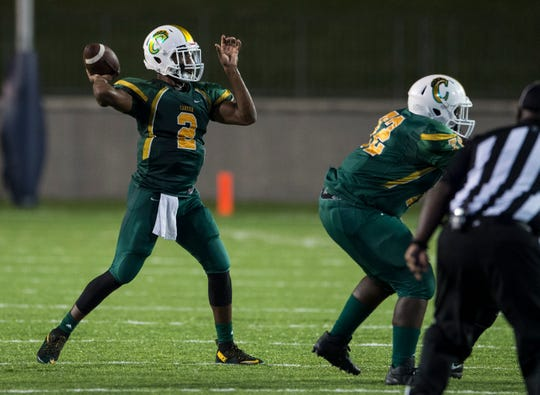 Carver's Kole Williams (2) throws a screen pass against Northview at Cramton Bowl in Montgomery, Ala., on Friday, Oct. 5, 2018. Carver defeated Northview 47-13.