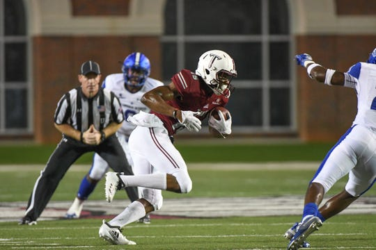 Troy Trojans wide receiver Damion Willis (15) during the first half against Georgia State at Veteran's Memorial Stadium in Troy, Ala., on Thursday, Oct. 4, 2018. (Chip Dillard/Special to the Montgomery Advertiser)
