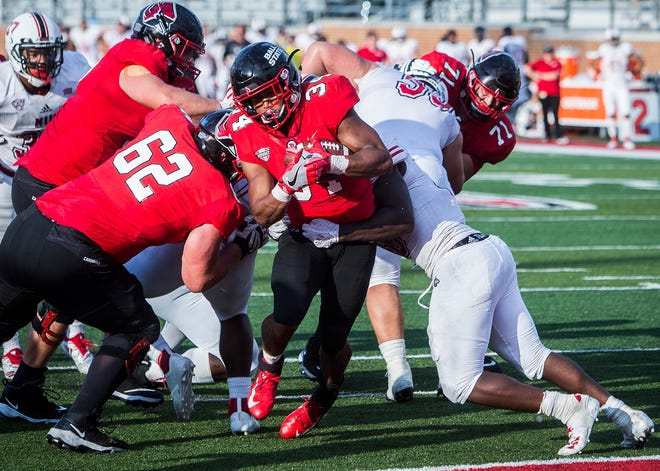 Ball State's James Gilbert finds the end zone against Northern Illinois during their game at Scheumann Stadium Saturday, Oct. 6, 2018.
