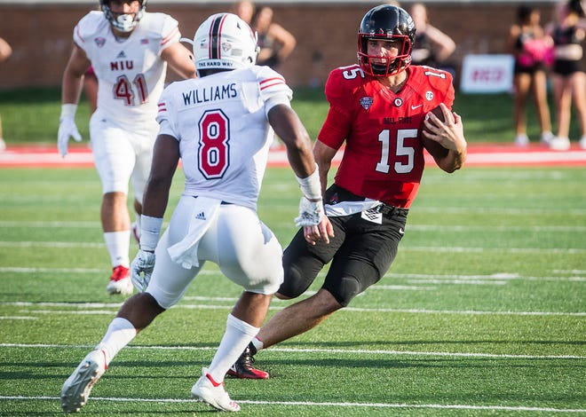 Ball State's Riley Neal, shown here against Northern Illinois, ran a career-high 24 times against Central Michigan.