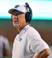 MTSU coach Rick Stockstill looks on during the Blue Raiders' 34-24 win over Marshall on Oct. 5, 2018.