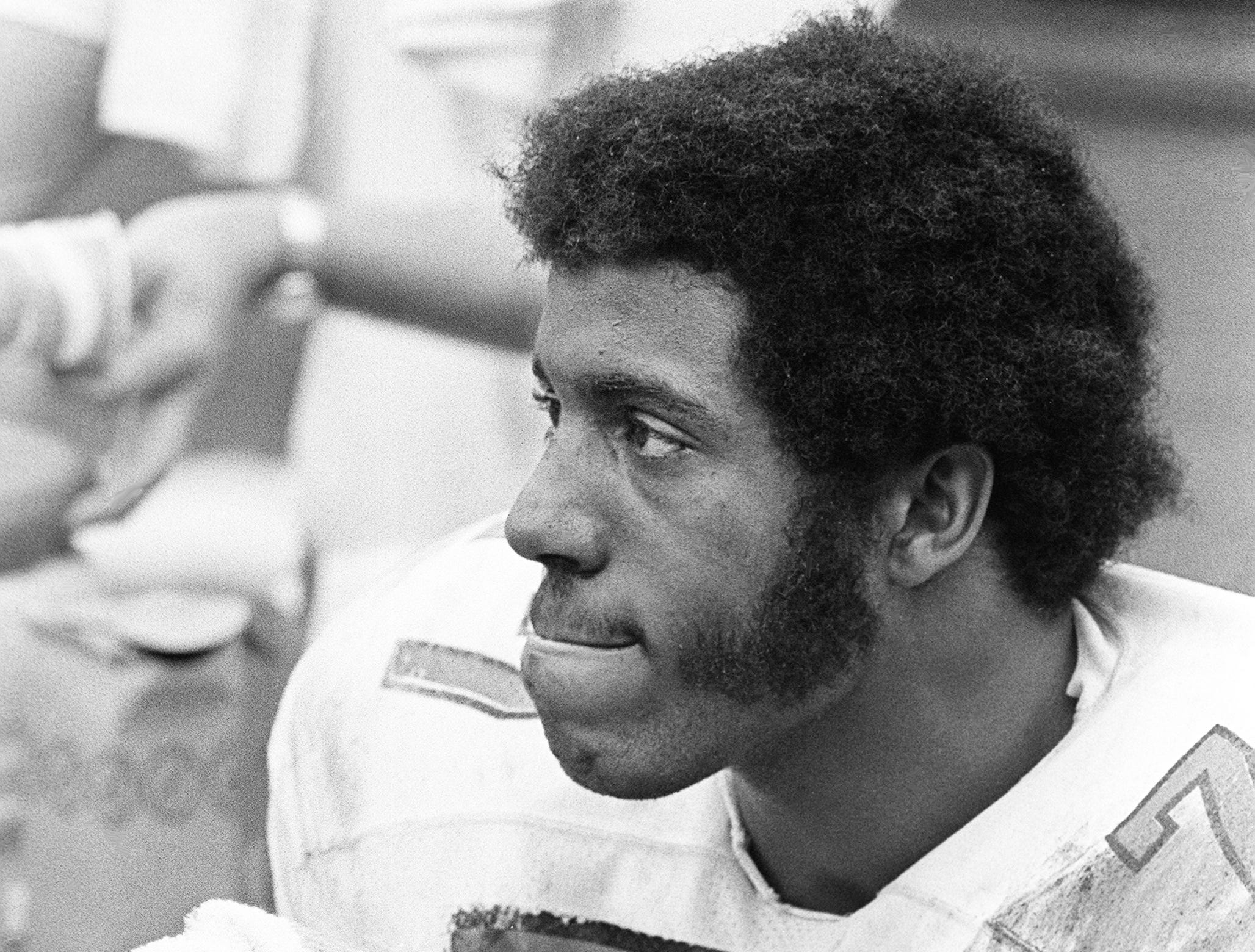 Vanderbilt defensive tackle Dennis Harrison (77) catch his breath while the offense is on the field against Texas Tech Dec. 28, 1974. Harrison was voted the game's Most Valuable Defensive player for his performance in the game.