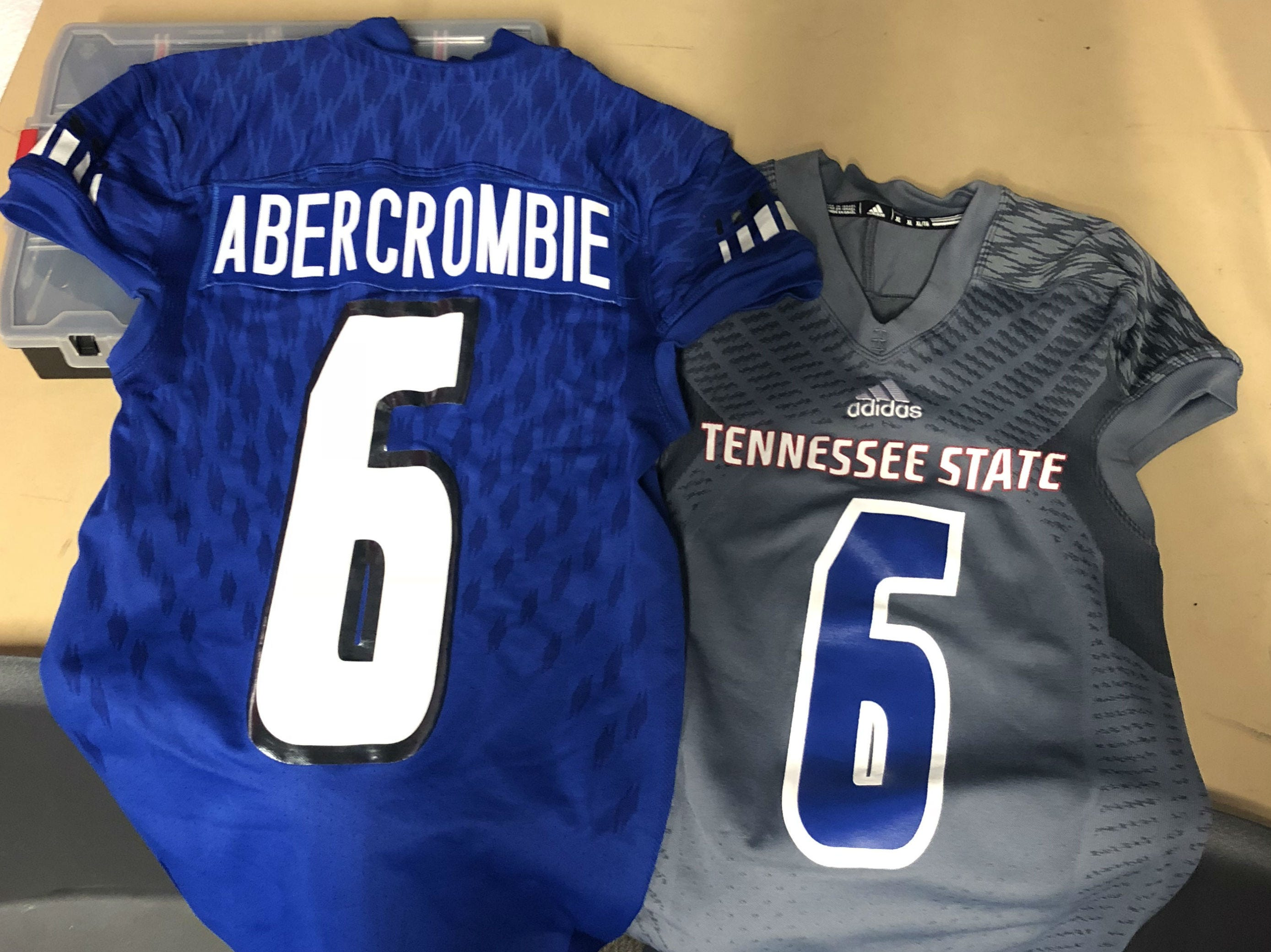 Tennessee State's players honored their teammate Christion Abercrombie, who suffered a serve head injury last week, by displaying his jerseys at Saturday's game at Austin Peay.