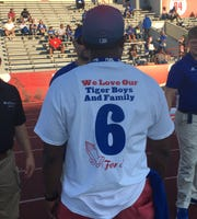 Several Tennessee State fans wore T-shirts with Christion Abercrombie's No. 6 on the back to acknowledge the injured player.