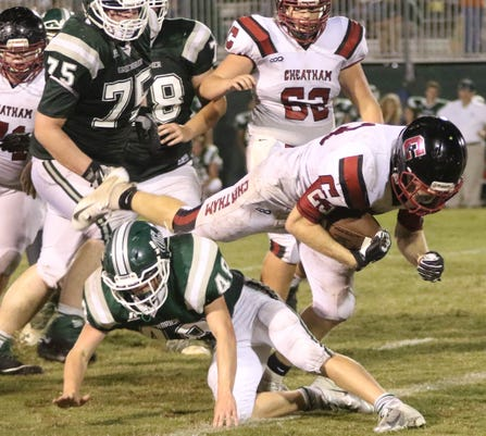 Cheatham Countys Jax Stone 23 Is Tackled By Reagan Conquest 48 During Their Game Against Greenbrier Friday Oct 5 2018 In Nashville Tenn