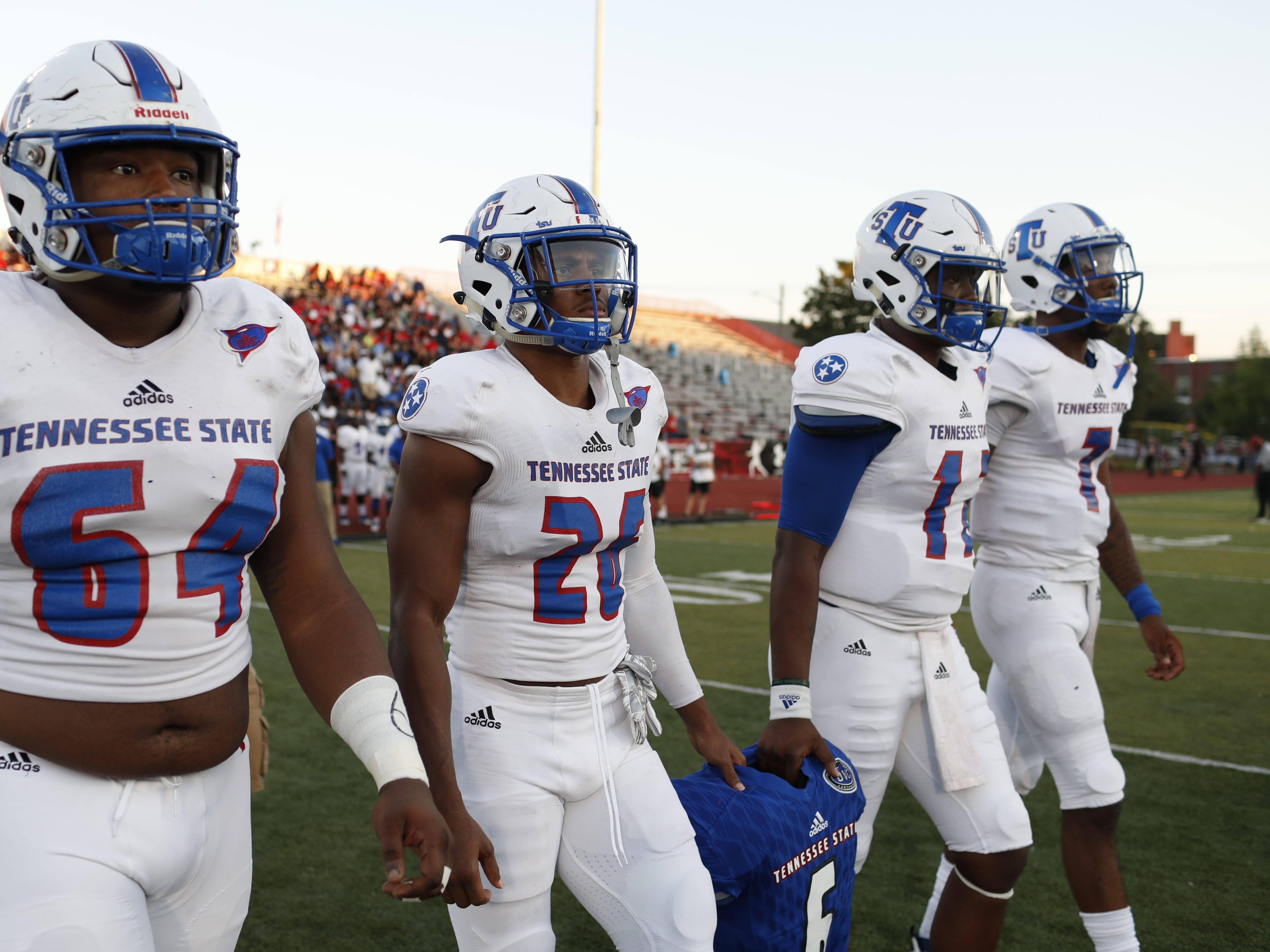 Tennessee State football captains walk to the coin toss before the Tigers' game at Austin Peay on Saturday, October 6, 2018.